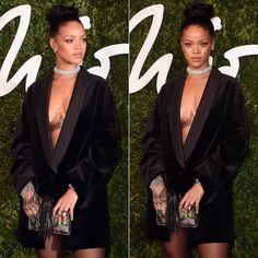 Rihanna at the British Fashion Awards wearing Stella McCartney black tuxedo dress