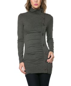 Charcoal Button Mock Neck Top