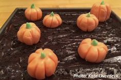This fun math problem is all about baking a pile of pumpkins to fit on a brownie square!