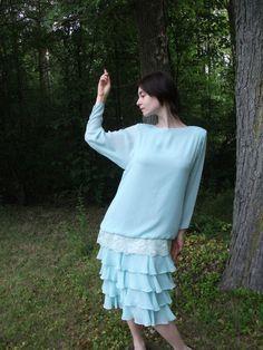Light Blue DropWaist Dress Size 10 Ursula of by drujienna on Etsy, $48.00