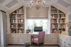 THIS IS MY ULTIMATE DREAM OFFICE!  Feminine style, yet you're really able to work in it.  Built-ins provide all the organizational space needed for books, files, supplies, etc.