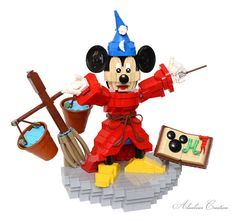 Sorcerer's Apprentice set on cleaning Lego Mickey Mouse, Lego Activities, Lego News, Lego Models, Lego Disney, The Brethren, Lego Moc, Cool Lego, Lego Creations