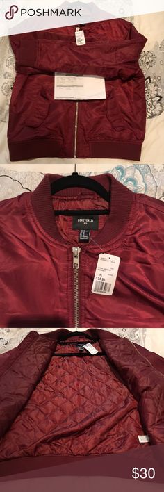 NWT and Receipt Forever 21 Mens Bomber Jacket Men's Padded Bomber Jacket with a zippered front, ribbed trim, flat collar, and snap-button front flap pockets. Forever 21 Jackets & Coats Bomber & Varsity