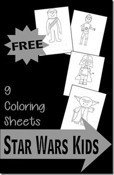 FREE Star Wars Kid Coloring Sheets - these are so cute! Great for toddler, preschool and kindergarten age kids who love star wars and coloring pages.