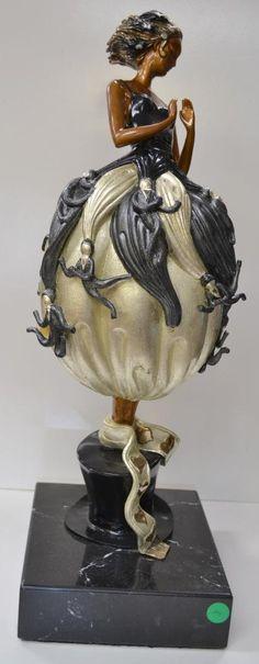 "Bronze Statue by Erte ""Tuxedo""  Black Marble Base"