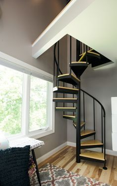 Small Room Decor Stairs - The Vacationer Spiral Staircase. Spiral Stairs Design, Small Staircase, Loft Staircase, Home Stairs Design, House Stairs, Winding Staircase, House Design, Stair Design, Spiral Staircases