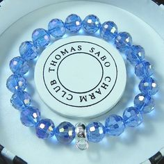 Thomas Sabo Bracelets Cheap Reconstructed Crystal Stretch Bracelet Blue - A Thomas Sabo, Diamond Bracelets, Stretch Bracelets, Washer Necklace, Bracelet Watch, Crystals, Blue, Accessories, Jewelry