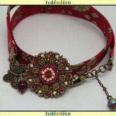 Bracelet retro passion fleur liberty rouge et beige perles et laiton bronze