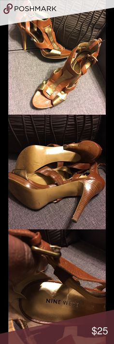 """JUST IN Nine West Strappy High Heel Sandals. Beautiful Nine West Strappy High Heel Sandals.  The coloring on these  is HOT; camel paired with a gold strap. Size 9 1/2. Absolutely gorgeous. Slight wear, only worn twice. The heel height is 4 1/2 """" (includes a 1/2"""" platform). Nine West Shoes Heels"""