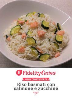 Riso basmati con salmone e zucchine Rice Recipes, Keto Recipes, Healthy Recipes, Quinoa Rice, Orzo, Risotto, Potato Salad, Food And Drink, Nutrition