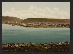 [General view, Kola, Kola Peninsula, Russia], ca 1890-1900 Kola Peninsula, White Sea, Russia, Mountains, Beach, Water, Travel, Outdoor, Color