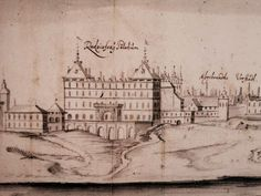 Detail of View of Warsaw with the Radziejowski (Kazanowski) Palace by Erik Dahlbergh, National Library of Sweden. Detail of original drawing with inscriptions in German, which was later published in Paris by Nicolas Pérelle in © Marcin Latka Warsaw, Rugs On Carpet, Empire, Drawings, Sweden, Palace, German, Paris, Detail