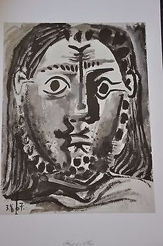 """Head of a Man by Pablo Picasso Fine Art Print 17"""" x 11"""""""