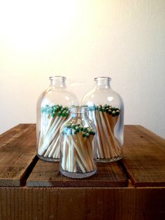 Apothecary Matchstick Bottle :: Reclaimed apothecary matchstick bottle with strike on bottom. Beautifully crafted, this bottle adds graceful detail to any home.