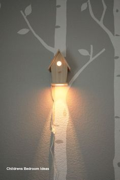 Avery Wall Hanging Birdhouse Lamp - Modern Baby Nursery Lighting - Love this nightlight So I was thinking this would a be cute light in the yard. Might want to cover - Baby Bedroom, Girls Bedroom, Nursery Lighting, Childrens Room Decor, Creative Decor, My New Room, Bird Houses, Home Decor, Night Lights