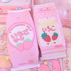Kawaii Strawberry Milk Stationery Bag cm ●Material:PU ●About Shipping: time: business days. Pink Aesthetic, Aesthetic Anime, Aesthetic Korea, Kawaii Bedroom, Kawaii Accessories, Cute Room Decor, Strawberry Milk, Little Doll, Kawaii Wallpaper