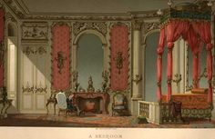 A chromolithograph of an upper class French 18th century bedroom interior by Paul Lacroix (18th Century, its Institutions, Customs and Costumes 1700-1789)