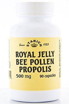 Stakich ROYAL JELLY BEE POLLEN PROPOLIS Capsules (90 CAPS, 500 MG) - Top Quality - * Check this awesome product by going to the link at the image.