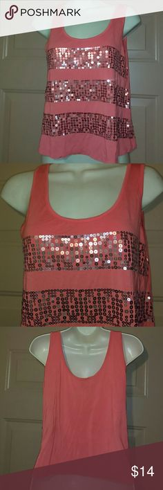 """2bBEBE TANK TOP-SIZE M-WORN A COUPLE TIMES -2bBebe Tank Top -Size Medium -Excellent condition, only worn a couple times -Tangerine colored with copper colored sequins -Sleeveless -Armpit to armpit measures 17 1/2"""" -Shoulder to bottom hem measures 20% -Very Cute 2bBebe Tops Tank Tops"""