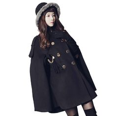 Faux Cashmere Coats For Ladies Female Winter Cloak Wool Jacket Mid-length Loose Shawl Womens OUTWEAR Batwing Coat Warm Clothing
