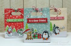 Lawn Fawn Toboggon Together Christmas Treat & Gift Bags by Heidi Criswell.