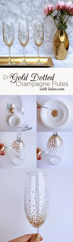 Cheap Crafts To Make and Sell - Gold Dot Champagne Flutes - Inexpensive Ideas fo. - Cheap Crafts To Make and Sell – Gold Dot Champagne Flutes – Inexpensive Ideas for DIY Craft Proj - Gold Diy, Diy Ouro, Painted Wine Glasses, Crafts To Make And Sell, Champagne Flutes, Toasting Flutes, Gold Champagne, Diy Gifts, Unique Gifts