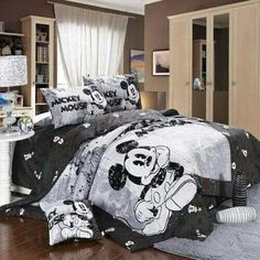 Mickey and Minnie Mouse King Queen Adults Cartoon Bedding Set 4 Pcs Cotton Bed Sheet Grey Linens Doona Duvet Cover and 2 Pillowcase Disney Themed Bedrooms, Bedroom Themes, Bedroom Decor, Outdoor Bedroom, Bedroom Kids, Bedroom Storage, Mickey Mouse Bett, Mickey Mouse Bedroom, Casa Disney