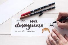 La Gata Con Botas | Tutorial para crear un talonario de vales de regalo para San Valentín con lettering