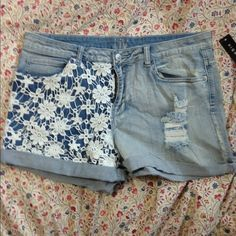 HOST PICKHi waisted shorts Hi waisted shorts with white crochet on one side. Never worn, nwt. Prices are never firm so please make an offer  Delias Jeans
