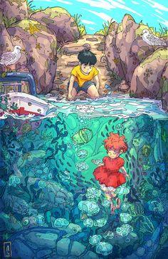 A very cool Ponyo wallpaper : ghibli Dessin danimation Japonais Art And Illustration, Fuchs Illustration, Art Illustrations, Totoro, Art Studio Ghibli, Studio Ghibli Movies, Personajes Studio Ghibli, Fanart, Anime Scenery Wallpaper