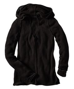 Loving this Black Pointelle Merino Wool-Blend Sweater Hoodie - Women on #zulily! #zulilyfinds