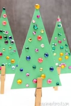 Jeweled Christmas Trees, Christmas Tree Crafts, Christmas Holidays, Christmas Ornaments, Christmas Crafts For Preschoolers, Kids Winter Crafts, Christmas Crafts For Kids To Make Toddlers, Christmas Projects For Kids, Kindergarten Christmas Crafts