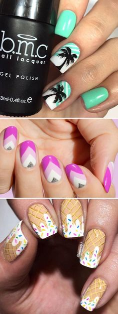 24 Funky Summer Nail Designs to Impress Your Friends Here is a list of the coolest summer nail designs for Are you ready for the hot season, road trips, picnics, swimming and long walks on the beach? Beach Nail Designs, Cute Summer Nail Designs, Cute Summer Nails, Summer Toe Nails, Nail Art Designs, Nails Design, Winter Nails, Beach Design, Summer Beach Nails