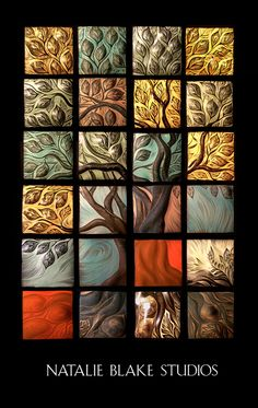 Skyline Tree of Life ~ from handmade hand carved ceramic tiles by Natalie Blake Studios in Brattleboro, Vermont