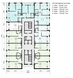 Многофункциональный жилой комплекс на территории завода «Филикровля». План типового этажа башни. Вариант 2. Проект, 2015 © ABD architects
