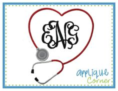 Nurse Stethoscope Heart Shape for Monogram Applique Design