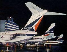 Classic Delta Airlines lineup, Atlanta 1960's