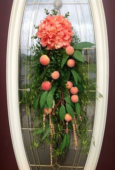 Spring Wreath Summer Wreath Teardrop Vertical Door Swag Decor..Peaches via Etsy