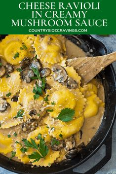 This Cheese Ravioli in Creamy Mushroom Sauce is made easy using store bought rav. - This Cheese Ravioli in Creamy Mushroom Sauce is made easy using store bought ravioli and made extra - Frozen Ravioli Recipes, Gnocchi Recipes, Pasta Recipes, Cooking Recipes, Easy Cooking, Mushroom Cream Sauces, Creamy Mushroom Sauce, Easy Mushroom Ravioli Recipe, Four Cheese Ravioli Recipe