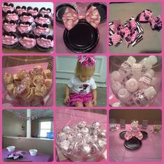 Minnie Mouse, pink & zebra, birthday party: cupcakes, plates, hair bows, candy favors, t-shirt