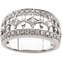 14K White gold fashion diamond band. Total diamond weight is 0.50 carat setting in Pave.