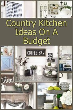 Create a Farmhouse Style Country Kitchen Ideas On A Budget With These Cheap and Easy Kitchen Decorating Ideas (lots of pictures for inspiration! Country Kitchen Diy, Country Kitchen Farmhouse, Kitchen On A Budget, Kitchen Ideas, Farmhouse Kitchens, Farmhouse Kitchen Canisters, Kitchen Decor Items, Coffee Bars In Kitchen, Farmhouse Style Decorating