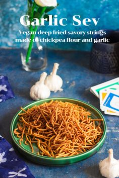Garlic Sev or Lahsun Shev is deep fried savory strings made of chickpea flour that has been flavored with garlic. Serve garlic sev as an evening snack during tea time. Garlic Sev is vegan. Best Vegetarian Recipes, Lunch Recipes, Indian Food Recipes, Crockpot Recipes, Soup Recipes, Breakfast Recipes, Dessert Recipes, Cooking Recipes, Ethnic Recipes