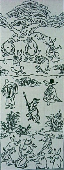 Japanese washcloth, Tenugui 鳥獣戯画 勧進帳