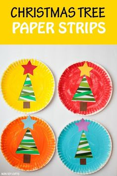 Paper strip Christmas tree craft for kids to make this winter. Easy paper plate classroom craft for preschoolers, kindergartners and older kids. | at Non-Toy Gifts #Christmastreecraft #Christmascraft #paperplatecraft #artsandcraftsforChristmas,