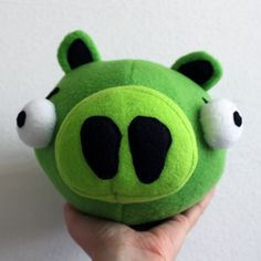 Obsessively Stitching: Angry Birds -- Plush Pig! (and blue bird!) pattern plus links to red, yellow, black, white, and green birds.