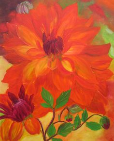 Flower Painting-dahlia oilpainting-Wall  hanging-16x20in-Home decor- floral artwork-flower art-personalized gift- gift for her-handmade