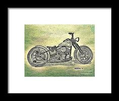 1950 Harley Davidson Panhead Motorcycle - Blue Abstract  from the art studio of Scott D Van Osdol available at fineartsamerica.com
