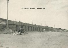 Bathing Boxes, Parkdale, 1955 Melbourne Victoria, Old Photos, Bathing, Nostalgia, Surfing, Boxes, Culture, Memories, History