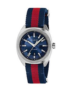 Gucci Stainless Steel & Nylon Web Watch - Blue